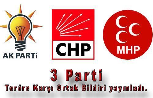 AKP, CHP ve MHP grupları teröre karşı ortak bildiri yayınladı