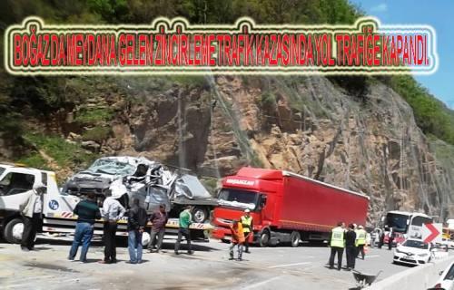 Geyve boğazında zincirleme trafik kazazı sonucu yol ulaşıma kapandı.