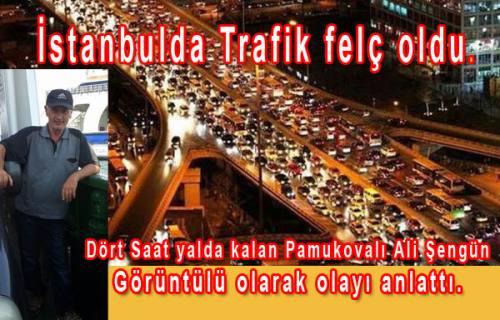 İstanbul TEM de Trafik durdu. Yolda kalan Pamukovalılar o anları paylaştılar