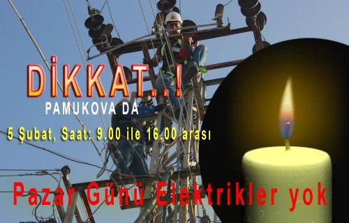 Pamukova da Pazar Günü elektrik kesintisi yapılacak.