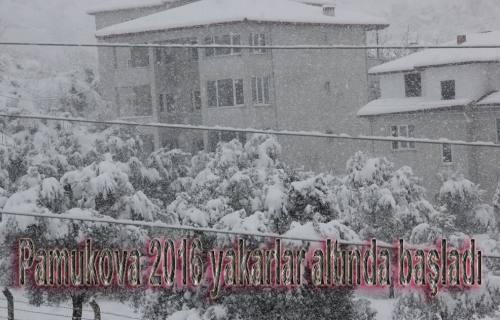 Pamukova Yeni yıla karlar altında uyandı.