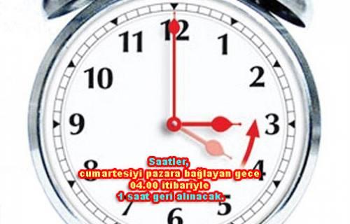 Pazar günü Saatinizi geri almayı unutmayın