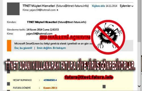 Sahtekarlar, İnternet Faturası Üzerinden virüs gönderiyorlar.