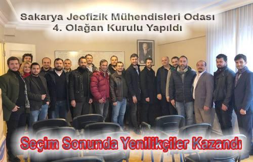 Sakarya Jeofizik Mühendisleri Odasında Yönetime yenilikçiler geldi.