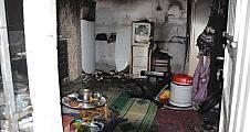 Karapınar da Meydana gelen yangın da 1 ev tamamen yandı.