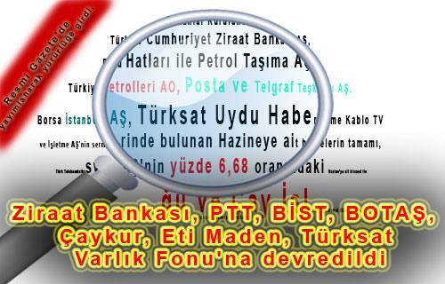 Ziraat Bankası, PTT, BİST, BOTAŞ, Çaykur, Eti Maden, Türksat Varlık Fonu'na devredildi