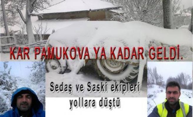 Kar Pamukova'ya kadar geldi.