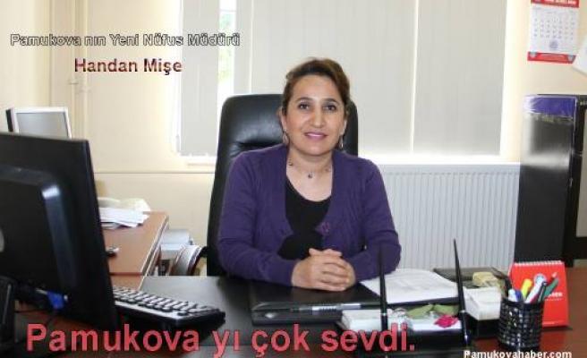 Pamukova'nın yeni nüfus müdürü Handan Mişe