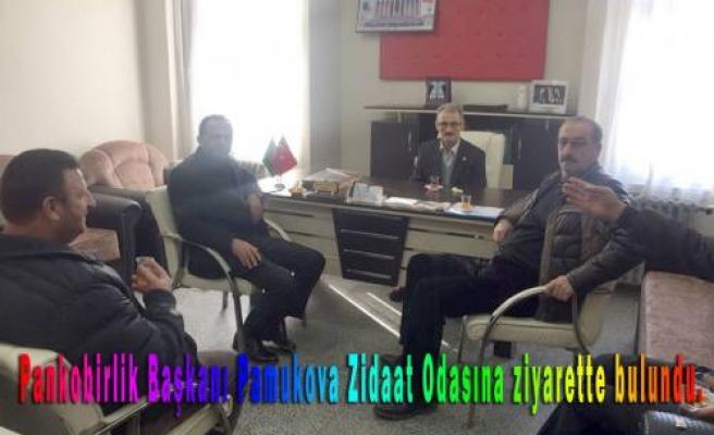 Pankobirlik Başkanı ve yönetimi Ziraat Odasına iadeyi ziyarette bulundu.