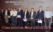 Vali Balkanlıoğlu sağlıkçılara başarı belgesi verdi