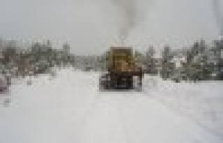Kardan kapanan köy yolları açıldı.