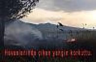 Pamukova Havaalanında çıkan Yangın korkuttu.
