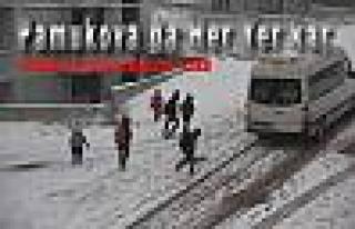 Pamukova'da her yerde kar var.