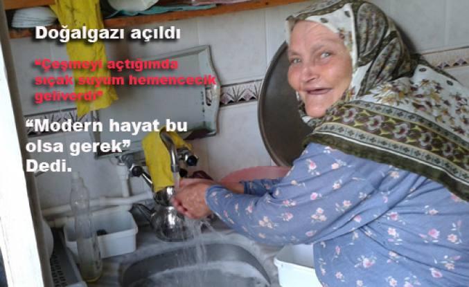 Pamukova da ilk doğalgaz Meryem teyzenin evine verildi