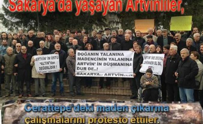 Sakarya'daki Artvinlilerden Cerattepe Protestosu
